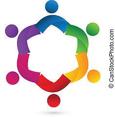 logo, zusammenarbeit, gemeinschaftsarbeit, app