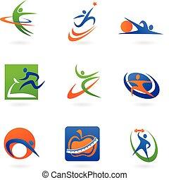 logos, fitness, bunte, heiligenbilder