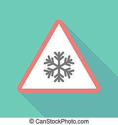 Long Shadow Dreiecks-Warnzeichen Icon mit einer Schneeflocke.