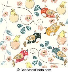 love., reizend, karte, baum, vogel, lieben vögel, vektor, day., valentine