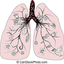 lunge, vektor, gesundheit