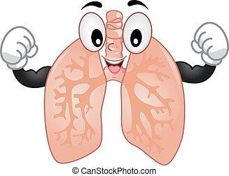 lungen, maskottchen, starke