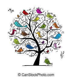 Lustiger Baum mit singenden Vögeln für dein Design
