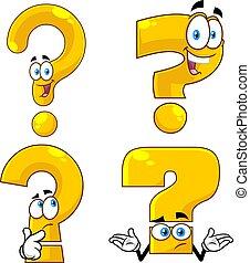 lustiges, charaktere, markierung, frage, gelber , karikatur