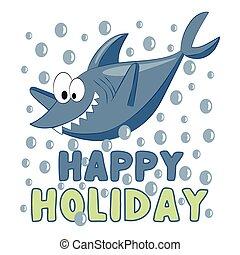 lustiges, glücklich, -, hai, bubbles., feiertag