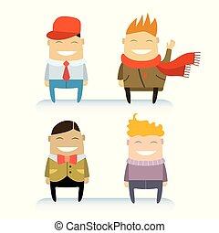 lustiges, satz, freigestellt, hintergrund., charaktere, weißes, karikatur