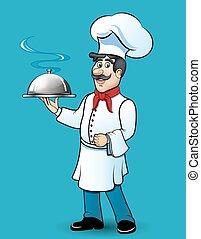 lustiges, seine, lebensmittel, abbildung, hand, küchenchef