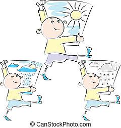 lustiges, skizze, plakat, verschneiter , spaziergänge, brunnen, regnerisch, symbol, vektor, schelmisch, sonnenkollektoren, hände, wetter- mann