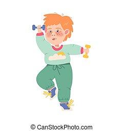 lustiges, sommersprossig, hanteln, vektor, abbildung, übung, physisch, junge, athlet