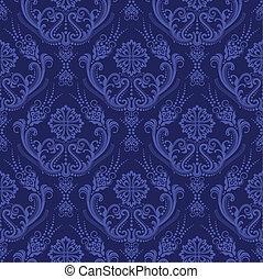 Luxuriöse blaue Blumen-Damask Tapete.