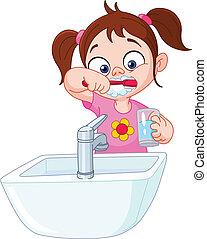 Mädchen, die Zähne putzen