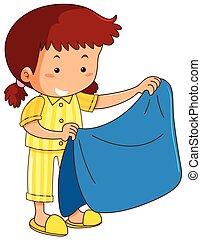 Mädchen und blaue Decke.