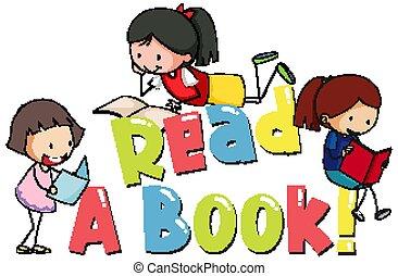 mädels, lesende , design, lesen, drei, schriftart, wort, buch