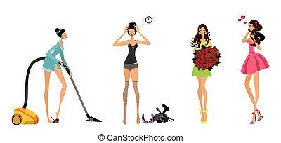 mädels, satz, modern