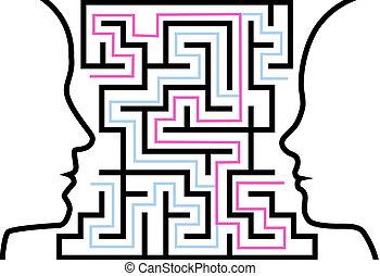 Männer-Frau-Profile zeigen ein Rätsel im Labyrinth