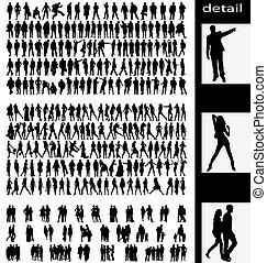 Männer, Frauen, Ehemänner und Paare Silhouetten.
