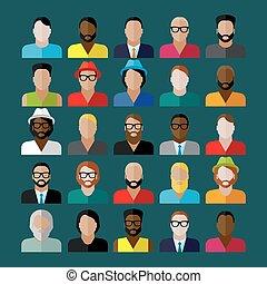 Männer mit Symbolen. Leute, flache Icons Sammlung