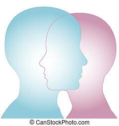 Männliche und weibliche Silhouette Profile fusionieren.