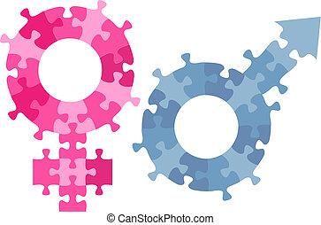 Männliches Frauen-Sex-Symbol Jigsaw-Puzzles