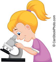 m�dchen, junger, gebrauchend, karikatur, mikroskop