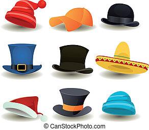 Mützen, Hüte und andere Kopfbedeckungen.