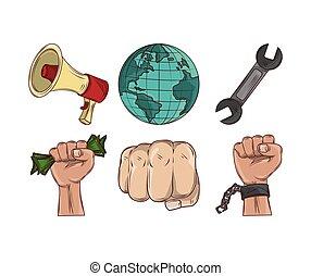 macht, protest, hände