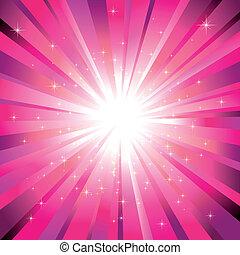 Magenta-Licht zerplatzt mit funkelnden Sternen