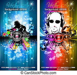 Magic Lights Disco-Flyer mit DJ-Form