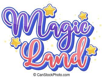 magisches, schriftart, design, sternen, weißes, land, hintergrund, wort