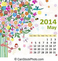 mai, kalender, 2014