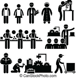 manager, arbeiter, fabrik, arbeitende