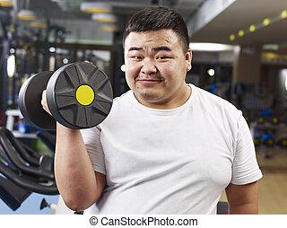 mann, übergewichtige , trainieren
