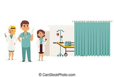 mann, doktor, krankenwagen, reanimation, unterstützung, mannschaft, krankenschwester, vektor, ergebnis, mediziner, zentrieren, zeichen, professionell, illustration.