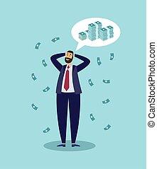 mann, geschäftsmann, geld., karikatur, glücklich, reich, erfolgreich, denken, über
