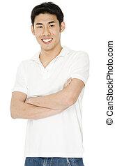 Mann in weißem Hemd