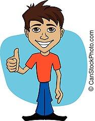 mann, karikatur, abbildung, glücklich