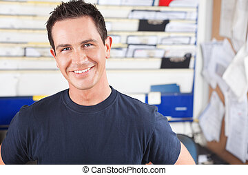 mann, mechaniker, glücklich