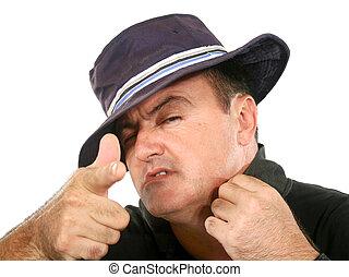 Mann mit Hut.