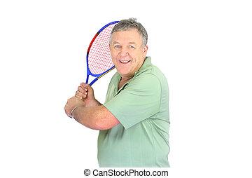 Mann mit Tennisschläger