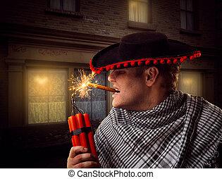 Mann schießt Dynamit.