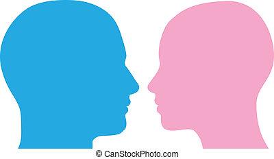 Mann und Frau führen Silhouette