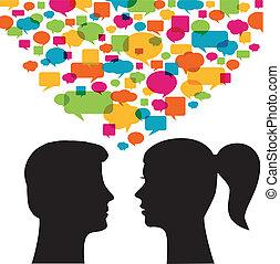 Mann und Frau mit Sprachblasen.