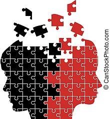 Mann und Frau Puzzle.