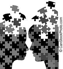 Mann und Frau Puzzles.