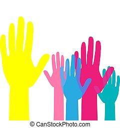 mannschaft, auf, arbeit, hands., volunteering., begriff, angehoben, bunte, hände