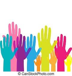 mannschaft, bunte, hands., aufgezogene hände, abbildung, concept., auf, volunteering., vektor, arbeit