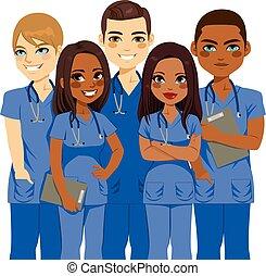 mannschaft, krankenschwester, andersartigkeit