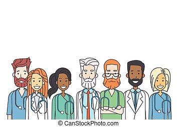 mannschaft, schlanke, gruppenarbeit, linie, doktoren, mittler