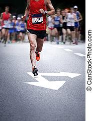 Marathonläufer - verschwommene Bewegung