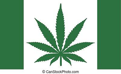 Marihuana Dope Flagge mit Hanfblatt.